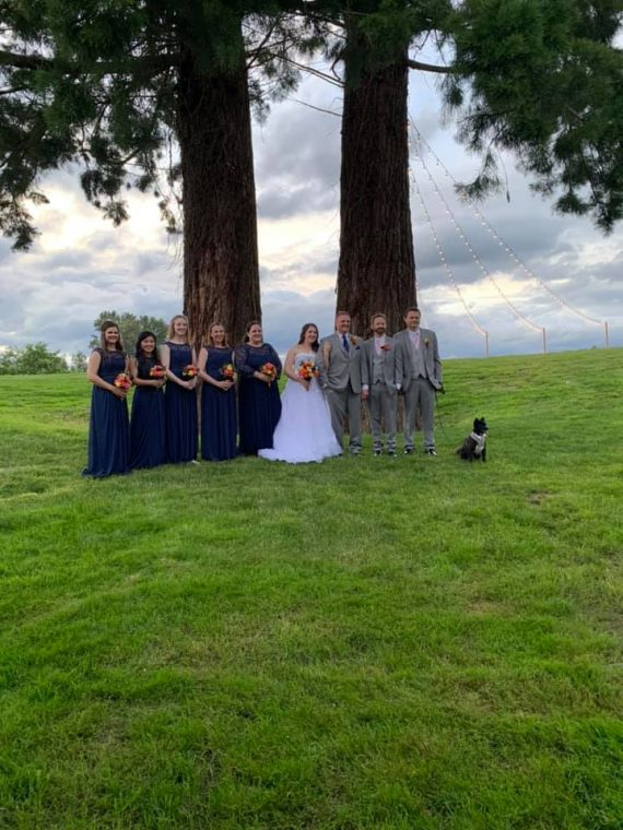 bride groom and bridesmaids and groomsmen by the trees at pemberton farm weddings in snohomish wa