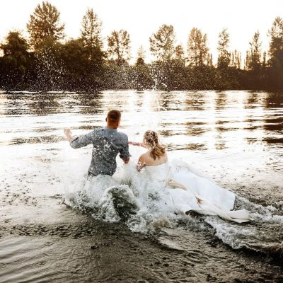 A Jump in the River at this Snohomish Wedding
